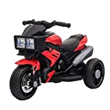 Aosom Kids Electric Pedal Motorcycle Ride-On Toy 6V Battery Powered w/ Music Horn Headlights Motorbike for Girls Boy 3-8 Years Old Red