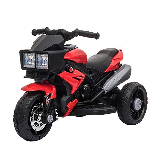 Aosom Kids Electric Pedal Motorcycle Ride-On Toy 6V Battery Powered w/ Music Horn Headlights Motorbike for Girls Boy 37 Months and up Red