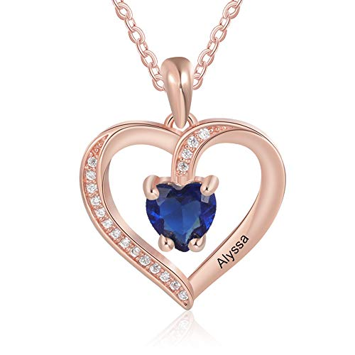 Customised Rose Gold Love Heart Necklace for Women Cusume Jewellery Pendant for Mum Grandma BFF Name Necklace Chain Personalised Gifts 1 Simulated Birthstone 1 Engraved Names