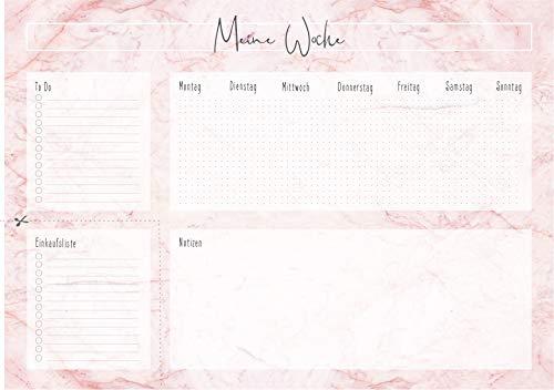 Montagsliebe® Schreibtischunterlage Rosa Marmor DIN A2 zum Abreißen 52 Wochen