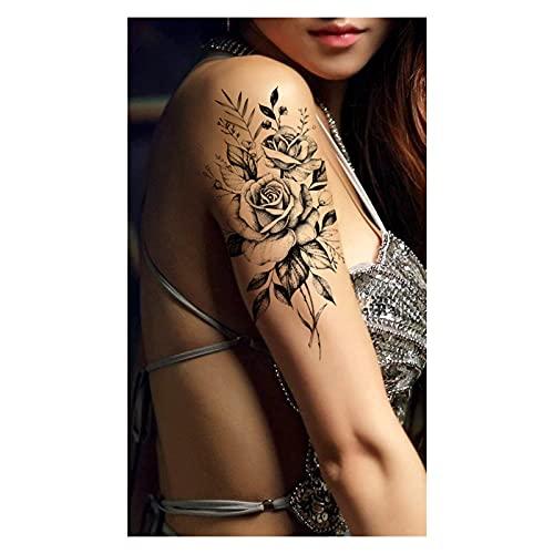 Qqinghan Púrpura Rose Joyería Transferencia de Agua Tatuaje Pegatinas Mujeres Cuerpo Arte Tatuaje Temporal Tatuaje Cintura Pulsera Flash Tatoos Flor (Color : PMZ012)