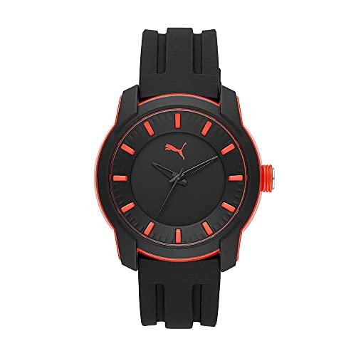 Puma Relojes de Pulsera para Hombres, Negro/Rojo P6007
