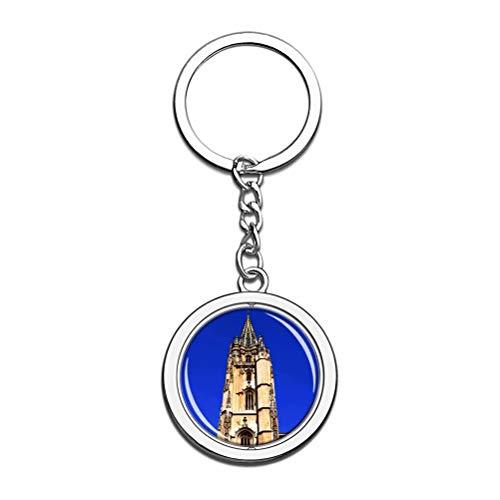 Llavero de Oviedo con diseño de catedral de San Salvador con cristales y cadena de acero inoxidable, regalo de viaje