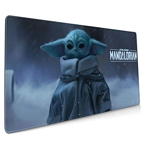 COCOCHILLA The Mandalorian Baby Yoda Extra Large Gaming Mouse Pad,Office Desk Gaming Mousepad XL,Non-Slip Rubber Base & Stitched Edges Mouse Mat for Laptop Computer 15.8 x 35.5 Inch.