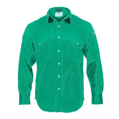 Just In Trend Flame Resistant Welding Shirt - 100% C - 9 oz (Small, Welders Green)