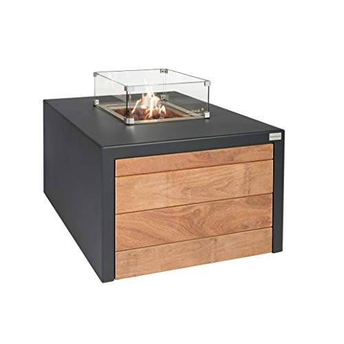 Easyfires Fire Table Juke on Gas Fire Pit, Gas Fireplace, Patio Fireplace, Square 95 x 95 x 55 cm