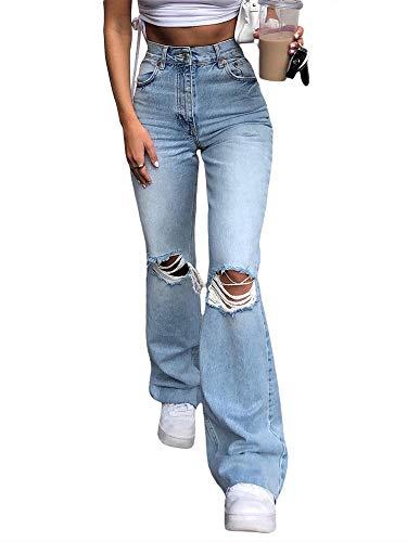 Koitniecer Jeans Svasati con Fondo a Campana strappato da Donna Pantaloni a Vita Alta con Foro al Ginocchio in Denim Svasato (Light Blue, S)