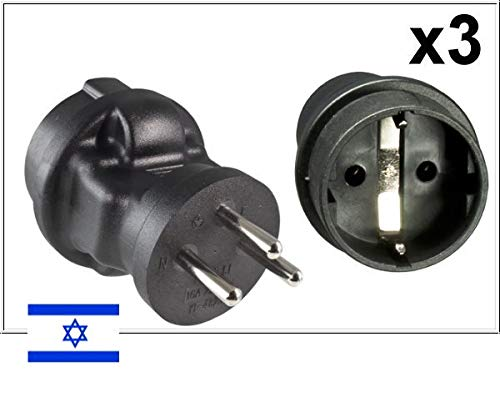 DINIC Reisestecker, Stromadapter für Israel, 3-Pin Reiseadapter (3 Stück, schwarz)