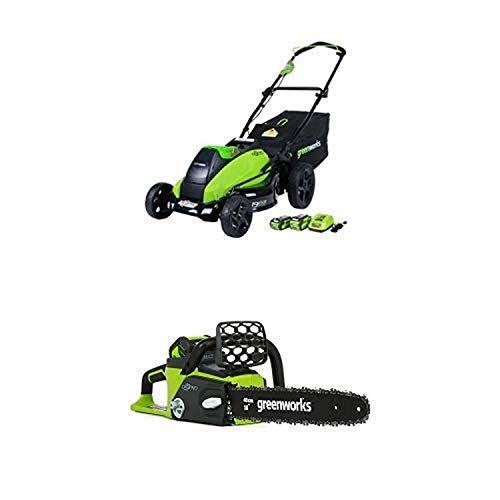 Best Bargain Greenworks 19-Inch 40V Brushless Cordless Lawn Mower with 16-Inch 40V Cordless Chainsaw...
