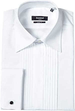 Bosweel Camisa de esmoquin con ribete, color blanco, cuello ...