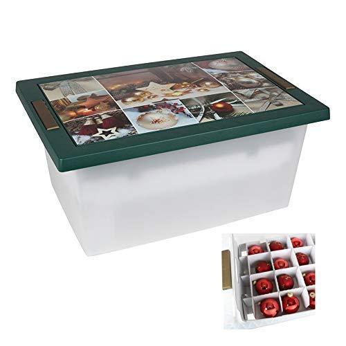 Freizeitmöbel und Leitern Weihnachts-Aufbewahrungsbox Weihnachtskugeln Organizer Weihnachtsbox 58x28x27cm