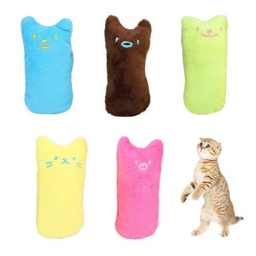 stronerliou 5PCS Weiche Plüschzähne Reinigung Kauen Beißen Katzenminze Daumen Spielzeug für Haustier Katze Hund