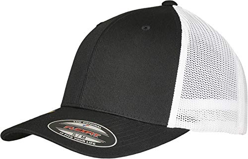 Flexfit Unisex Trucker Recycled Mesh Baseball Cap, Black/White, S/M