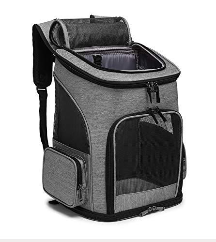 WTTX Haustier Reise Rucksack Haustier Rucksäcke haustiertragetasche Atmungsaktive Outdoor Faltbarer für Hunde und Katzen (grau)
