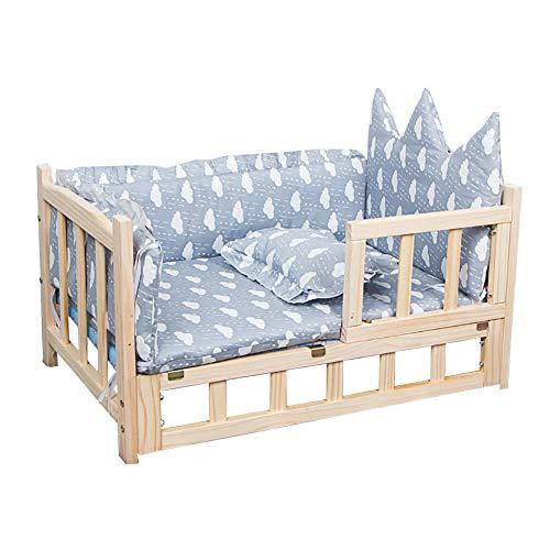 Hundebett Erhöhte Holzhundekissen Pet Bett, Großer Fressnapf Sofa Korb, Massivholzrahmen Und Waschbare Matratze (Color : Style2, Size : S(60×38×34cm))