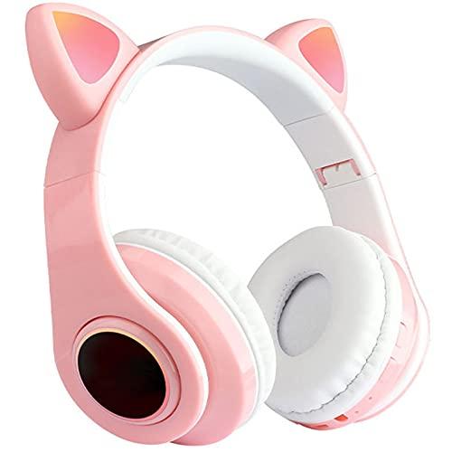 ML S HJDY Auriculares de Oreja de Gato,Auriculares Bluetooth Over Ear con Efectos de iluminación de arcoíris y Sonido Envolvente Plegables Apto para Deportes,Rosado