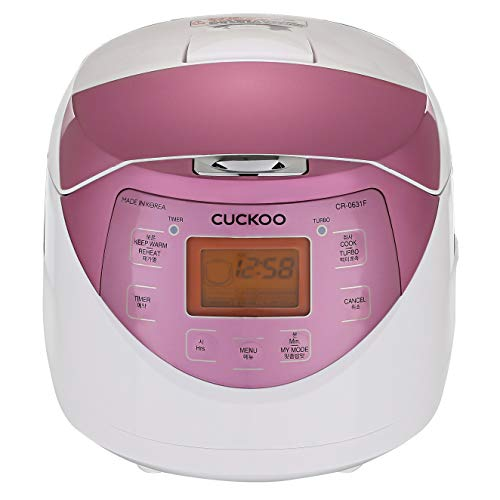 Cuckoo CR-0631F 6-Cup Multifunctional Micom Rice Cooker & Warmer White/GABA, Mixed/Brown, Porridge, Steam, Slow-Cook, White/Pink