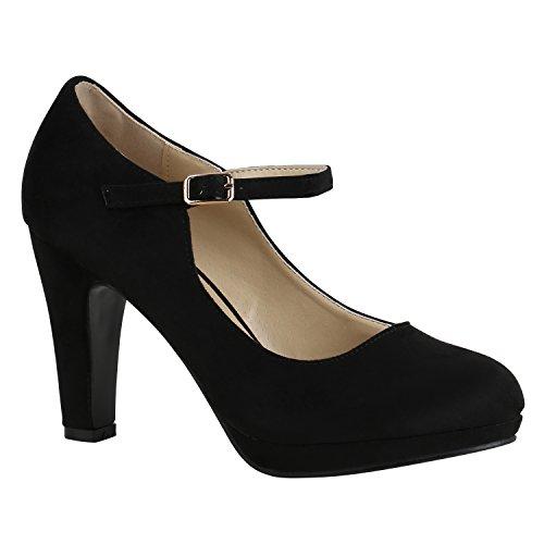Damen Schuhe Pumps T-Strap High Heels Riemchenpumps Stilettos 157204 Schwarz Berkley 38 Flandell