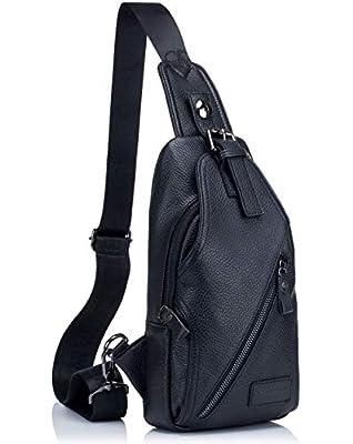 Genuine Leather Men Shoulder bag Sling Chest bag Travel Hiking Backpack Crossbody Bag (Black)