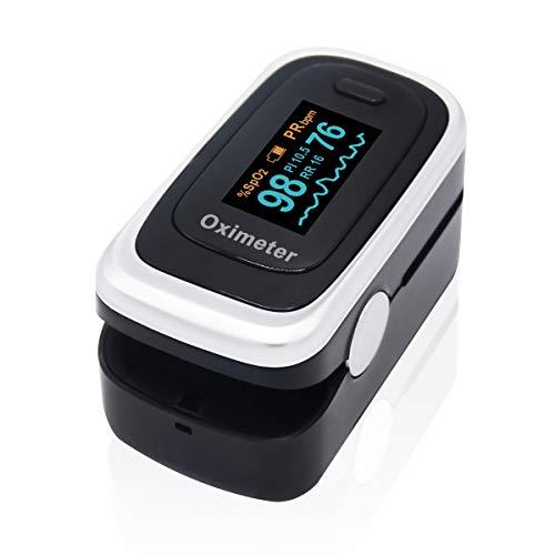 Oxímetro de pulso, monitor de saturación de oxígeno en sangre SpO2 con pantalla OLED, índice de perfusión, monitor de frecuencia respiratoria, aprobado por la FDA y CE 🔥