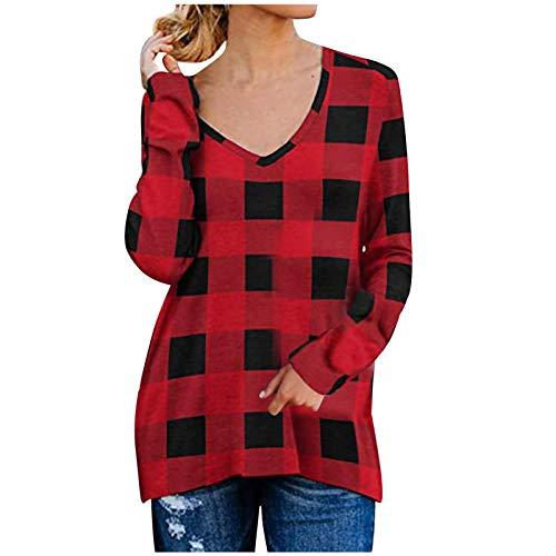 Xmiral Damen Causal V-Ausschnitt Weiche Raglan Langarm Sweatshirts Tops Basic T-Shirt Split Bluse mit Seitlichem Reißverschluss(a-Rot,XXL)
