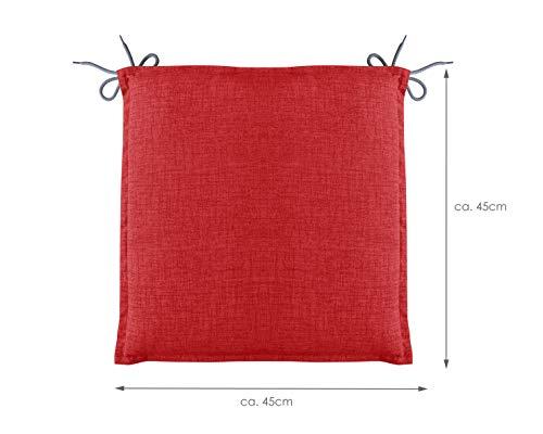 HERLAG Clara Sitzkissen für Gartenstühle (Farbe rot, Maße 45x45x4,5 cm, Füllung 100% PU Schaumstoff) P222033-2166
