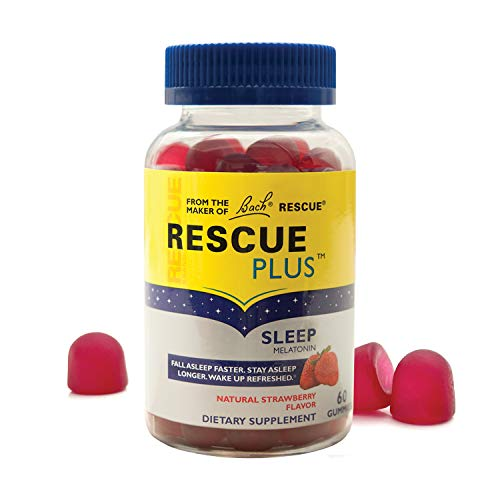 RESCUE PLUS Sleep Gummy, Dietary Supplement Sleep Aid, Natural Strawberry Flavor – 60 Gummies