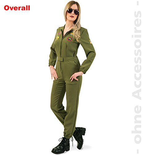 Kostüm Kampfpilotin Gr. 36 Jumpsuit grün Fasching Uniform Pilotin Militär