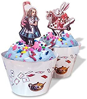 Alice in Wonderland Cupcake Decorations - Tea Party Supplies with Alice in Wonderland Characters - Set of 24 Pieces Cupcake Topper and 24 Pieces Cupcake Wrapper - Good for 24 Cupcakes