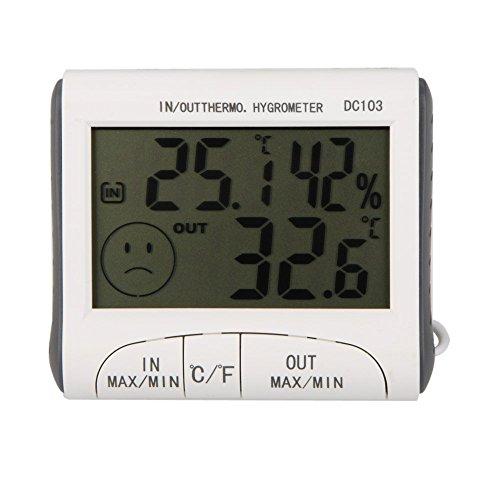 Goedkoopste LCD Digitale Thermometer Hygrometer Vochtmeter en Bedrade Temperatuur met Externe Sensor Wit