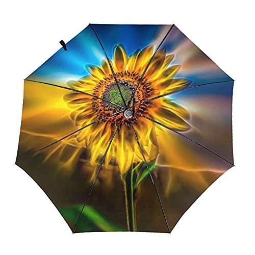 Donono Automatico Tri-Fold Ombrello 3d Stampato Girasole Neon Luce Impermeabile Protezione UV Ombrelli Della Pioggia Interno Stampa Per Uso quotidiano