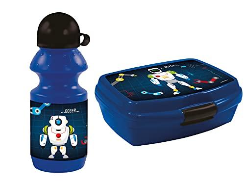 GOLDKIDS Robot lunchbox 16,5 x 13 x 6 cm kinderen lunchbox lunchbox broodtrommel voor ontbijt box drinkfles school vrije…