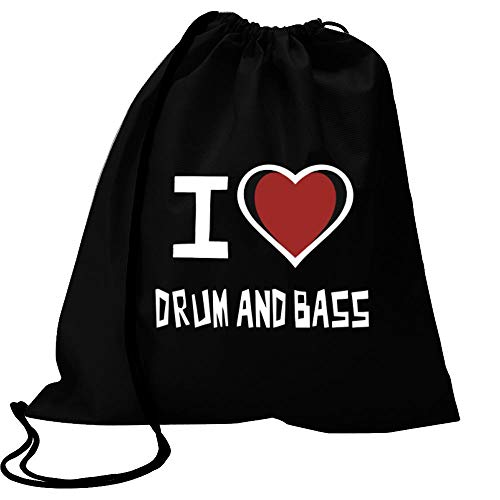 "Idakoos I Love Drum and Bass Bicolor Heart Turnbeutel 18\"" x 13\"""