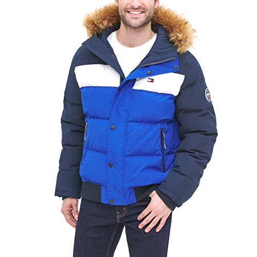 Tommy Hilfiger Men's Quilted Arctic Cloth Snorkel Bomber Jacket with Removable Hood (Standard and Big & Tall), Navy/White/Royal, Large