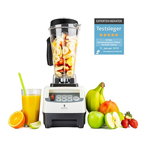 Royal Catering Katana Standmixer Hochleistung 1500W 38000 U/min Smoothie Maker Blender Mixer 2,5l 6 Klingen Pulse Funktion Timer