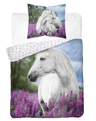DP Bettwäsche mit Pferdemotiv, Pferde Bettwäsche 100 % Baumwolle, 140 x 200 cm, 70 x 80 cm
