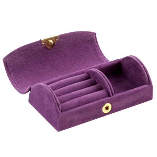 Fransande Joyero de moda arqueado de terciopelo con cuentas de viaje, bolsa de almacenamiento portátil para joyas, caja de almacenamiento, color morado