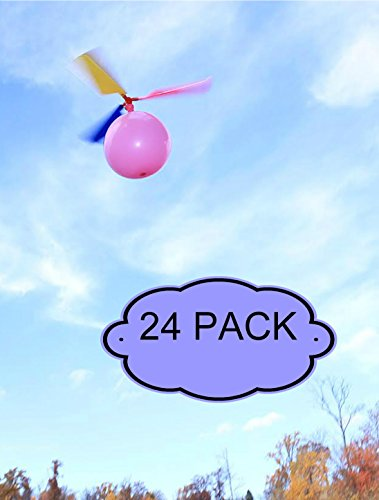 BLUR ROCK PRO Kids Balloon Helicopter Party Favor Toy Balloon Powered Helicopter Toy - 24- Pack