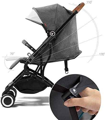 LAMTON Baby Stroller for Newborn, Pushchair Lightweight Stroller One Hand Fold Travel Buggy,46x68x100cm (Color : Gray) LAMTON Adjustable handlebars for people of all heights can adjust the most comfortable push position Easy to fold, can be picked up in the trunk of the car, his parents urge him to go shopping, travel, walk, play and talk, or picnic outdoors ★ Carbon steel frame, sturdy, lightweight, durable, easy to store and travel 6