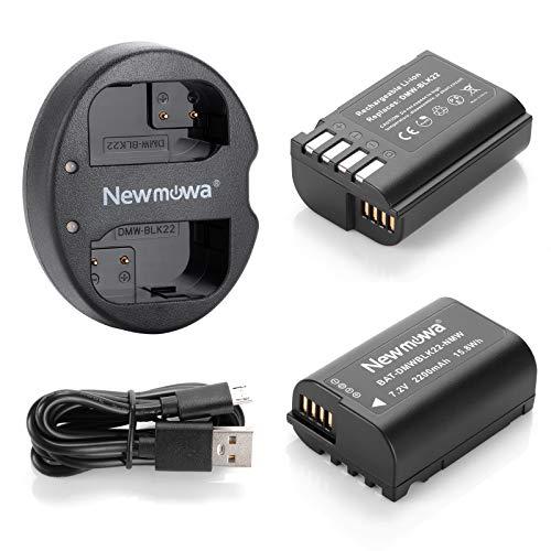 Newmowa DMW-BLK22 Batería de Repuesto (2-Pack) y Kit de Cargador Doble para Micro USB portátil para Panasonic DMW-BLK22 y Panasonic Lumix DC-S5