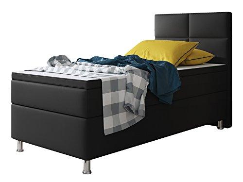 Inter Miami Boxspringbett, 100% Polyurethan, schwarz, 90x200 cm