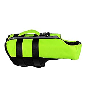 Dog Life Jacket, Reflective Pet Floatation Vest – Adjustable Dog Life Vest with Superior Buoyancy & Rescue Handle for Swimming Boating & Canoeing, Safety Life Saver for Small Medium Large Dogs
