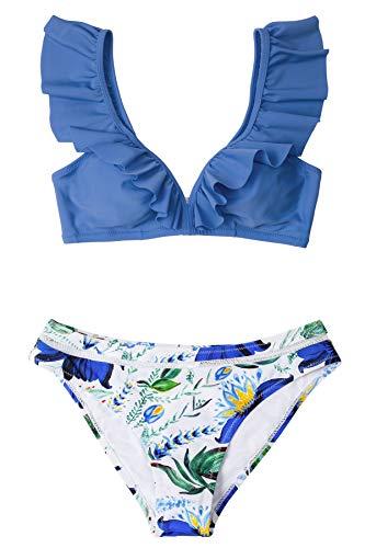 CUPSHE Conjunto de Bikini Mujer Floral Volantes Cintura Baja Traje de Baño de Dos Piezas, L