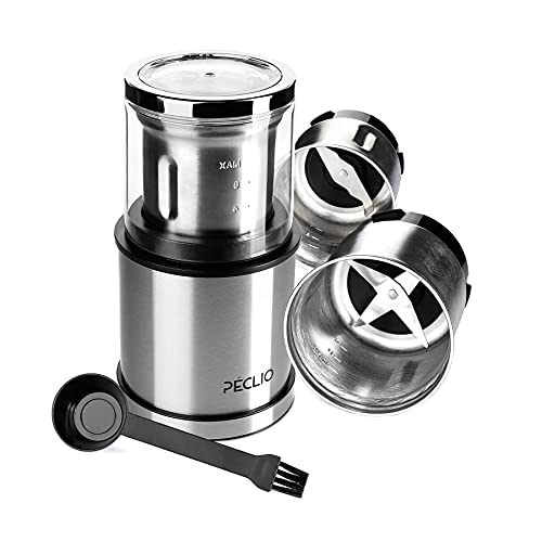 Peclio Kaffeemühle Elektrisch Mahlgrad Einstellbar 200 Watt mit 2 Edelstahlbehälter mit Schlagmesser und Spezialmesser, Füllmenge 75 g, Gewürzmühle für Kaffeebohnen, Gewürze, Nüsse, Pesto
