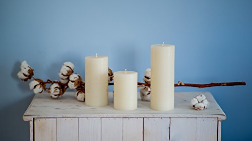 "3"" x 6"" White Pillar Candles Set of 3 Unscented for Wedding Church Restaurants Spa Smokeless Cotton Wick"