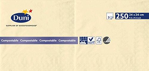 Duni 168419 3 plis Serviettes en papier, 24 cm x 24 cm, crème (lot de 2000)