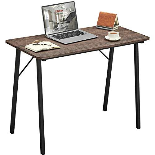 Coavas Schreibtisch Klein Computertisch Einfach Modern Büro Arbeitstisch Industrieller Stil Holzfaserplatte und Metallbeinen, 100x48x74cm, Braun