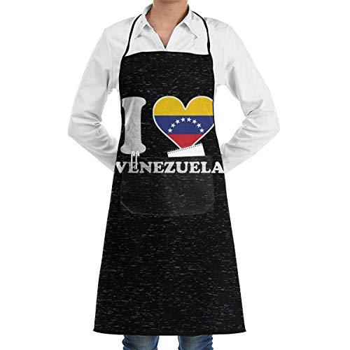 NA Delantales Ajustables con Bolsillos, I Love Venezuela Flag Heart. Delantal con Peto para tu Esposa y tu Madre