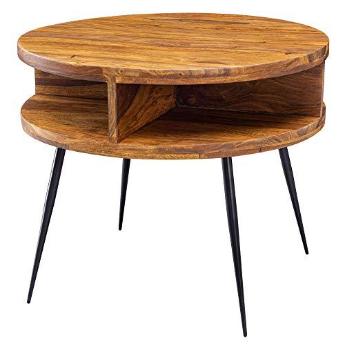 Nancy's Industriële Salontafel - Sheesham hout - Koffietafel - Bijzettafel - Ronde Salontafels - 60 cm