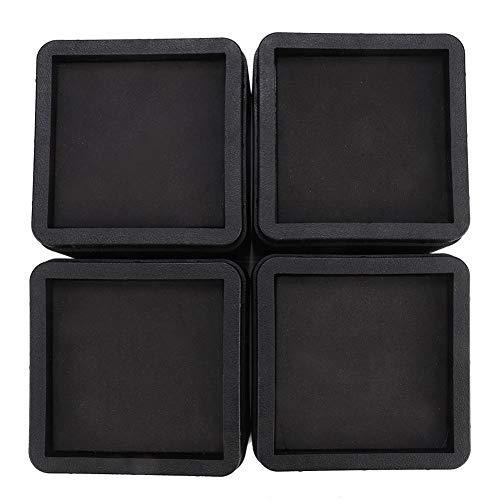 4PCS Durable Stackable Bed Risers Black Square...